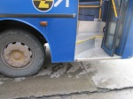 Newer blue bus, drop to street 1 to 1 1/2 feet, not 2' like one I fell from